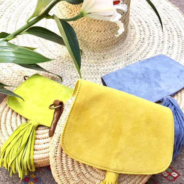 sac à main daim raphia jaune, sac d'été, sac fille, sac hand-made morocco maroc- sac fermeture bouton pression - DANDY BELDI