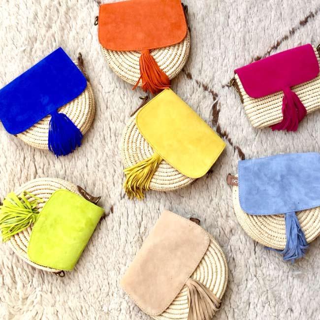 sac à main daim raphia beige, sac d'été, sac fille, sac hand-made morocco maroc- sac fermeture bouton pression - DANDY BELDI