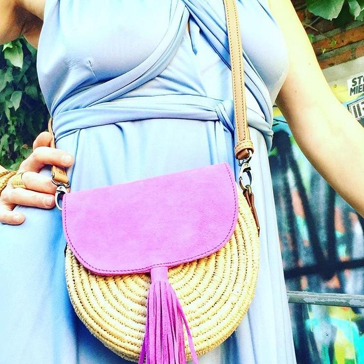 Sac à main raphia daim rose, sac artisanal, sac d'été, sac matières naturelles - DANDY BELDI